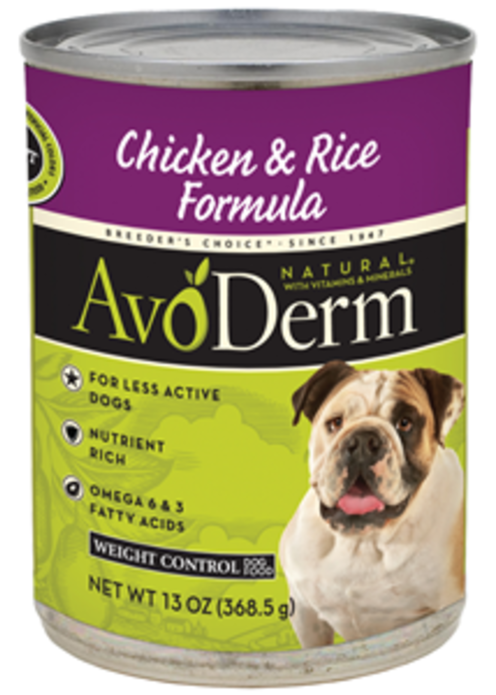 AvoDerm by Breeder's Choice AvoDerm Dog Can Chicken and Rice Weight Control 13.2 oz
