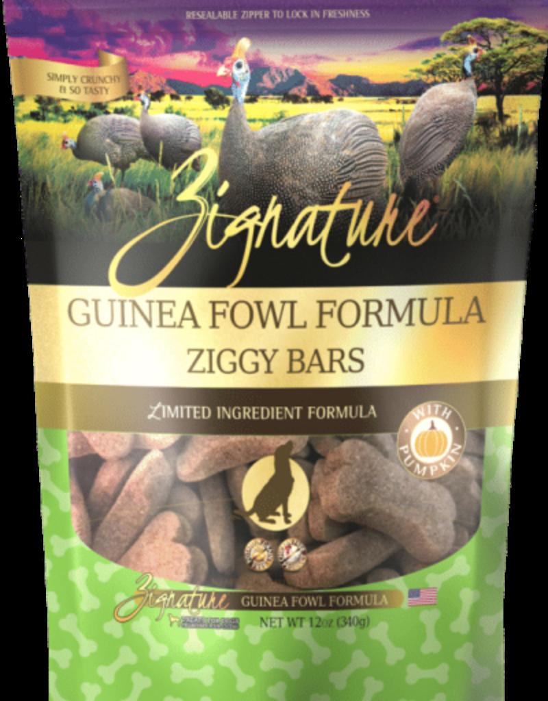 Zignature Zignature Dog Treats Ziggy Bars Guinea Fowl 12 oz