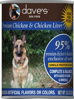 Dave's Pet Food Dave's Dog Can 95% Premium Chicken and Liver 13 oz