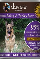 Dave's Pet Food Dave's Dog Can 95% Premium Turkey and Liver 13 oz