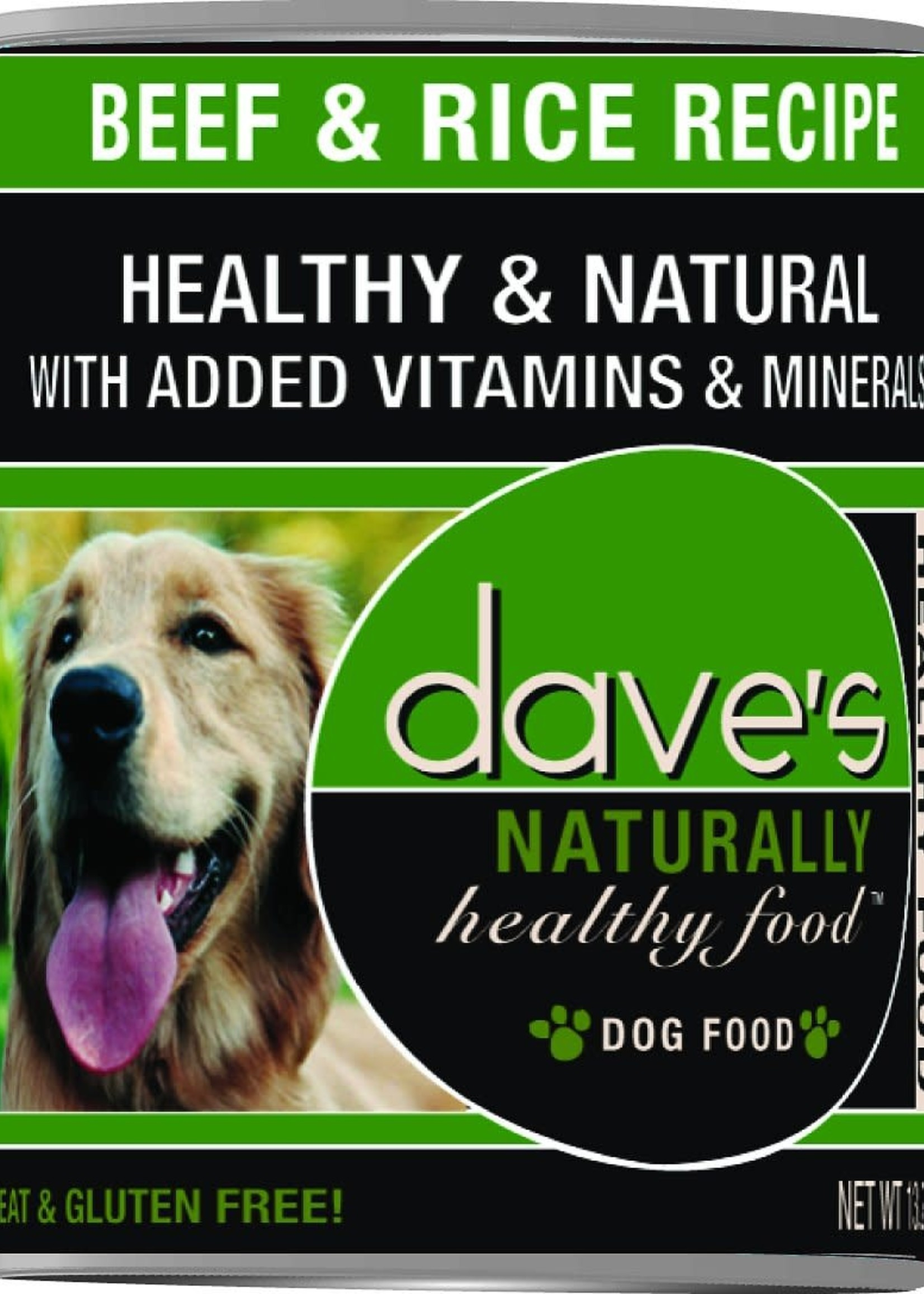 Dave's Pet Food Dave's Dog Can Naturally Healthy Beef and Rice 13 oz