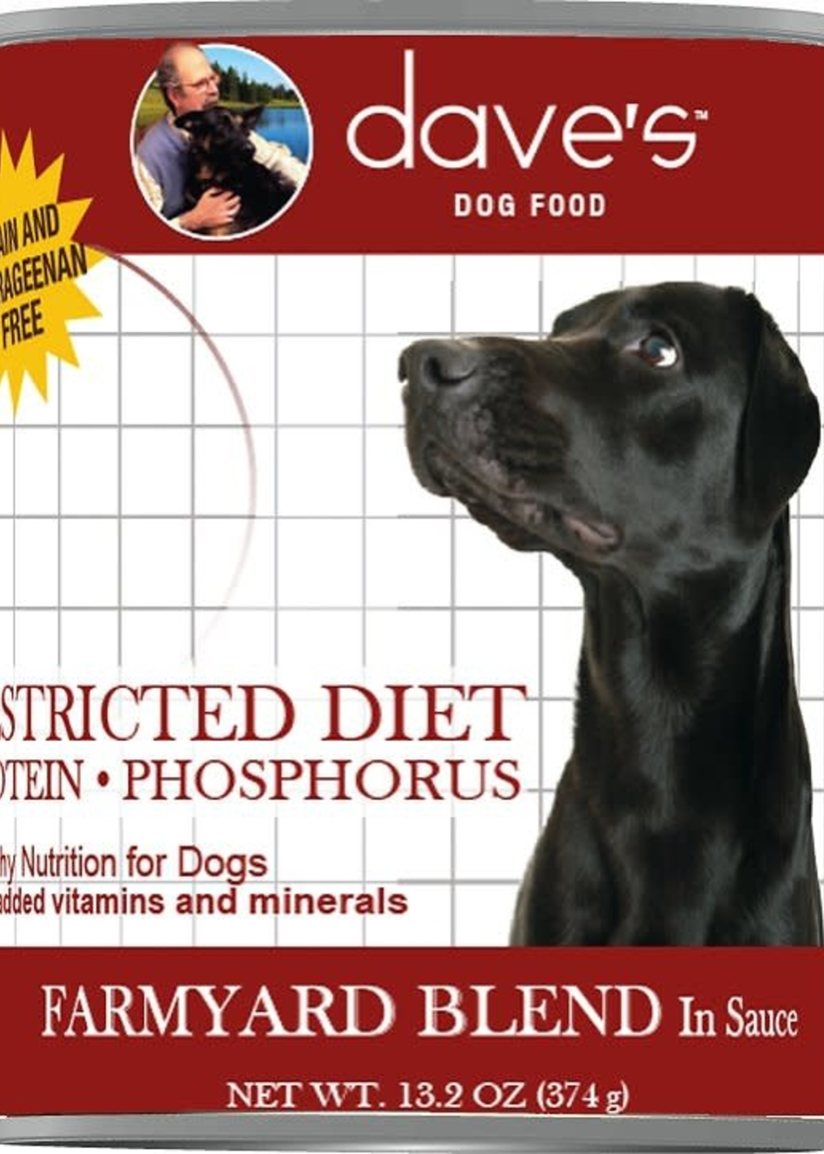 Dave's Pet Food Dave's Dog Can Restricted Diet Protein Phosphorous Farmyard Blend 13 oz