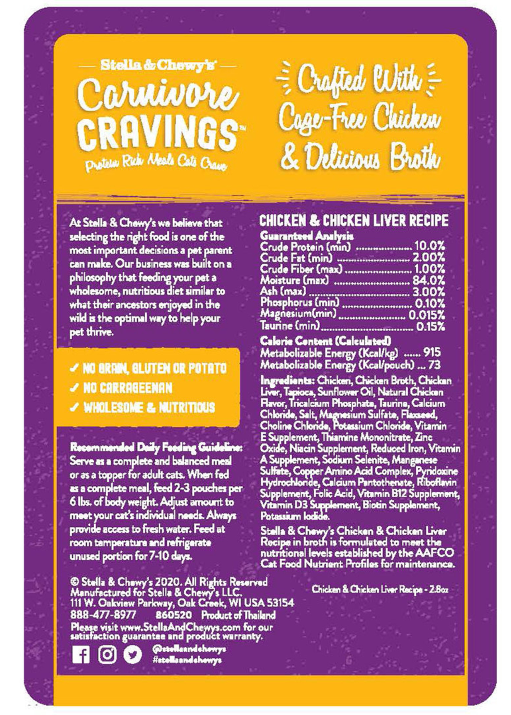 Stella & Chewys Stella & Chewy's Pouch Carnivore Cravings Chicken and Chicken Liver 2.8 oz