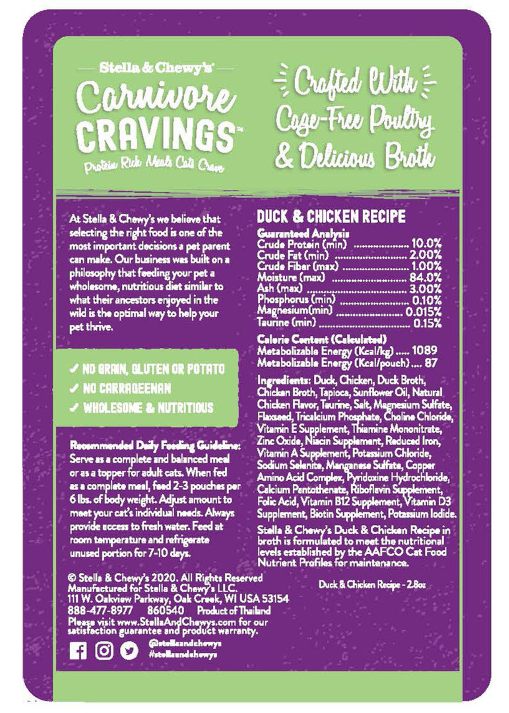 Stella & Chewys Stella & Chewy's Cat Pouch Carnivore Cravings Chicken and Duck 2.8 oz