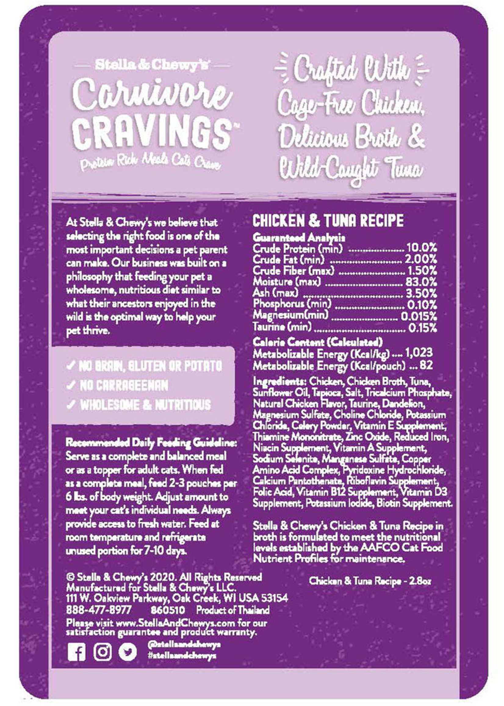 Stella & Chewys Stella & Chewy's Cat Pouch Carnivore Cravings Chicken and Tuna 2.8 oz