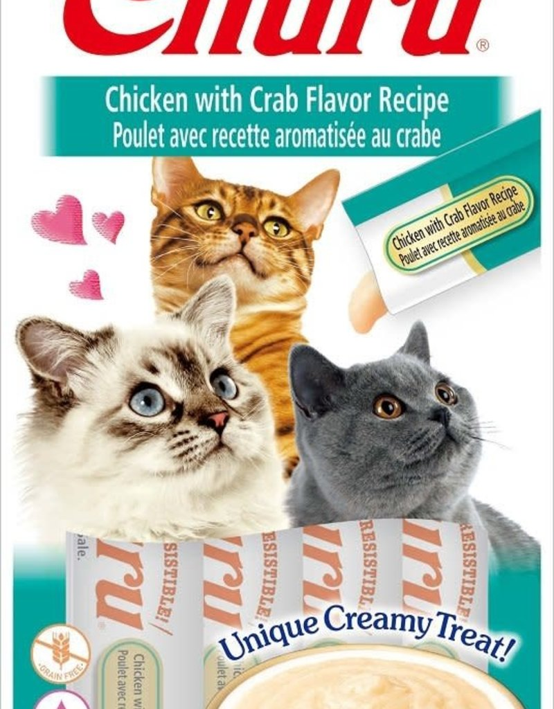 Inaba Foods USA Inaba Cat Treat Churu Puree Chicken and Crab 0.5 oz (4 pack)