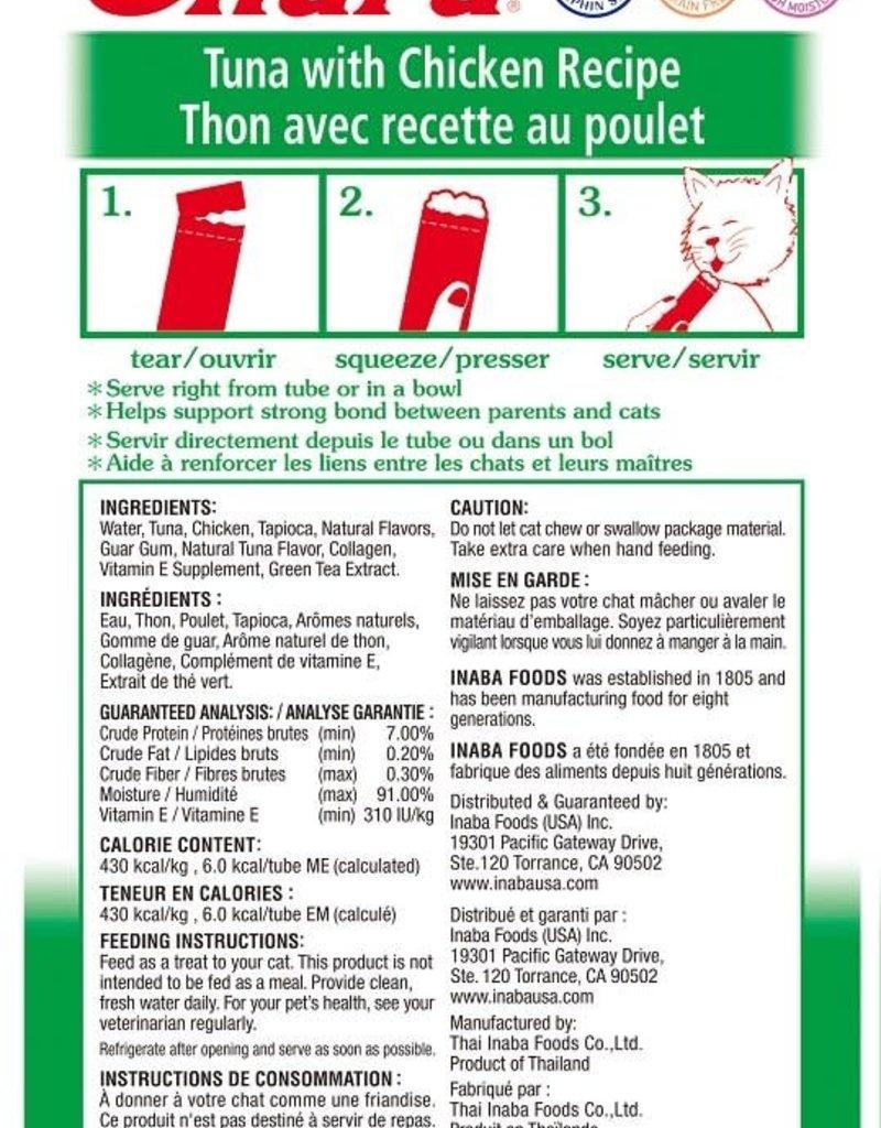 Inaba Foods USA Inaba Cat Treat Churu Puree Tuna and Chicken 0.5 oz (4 pack)