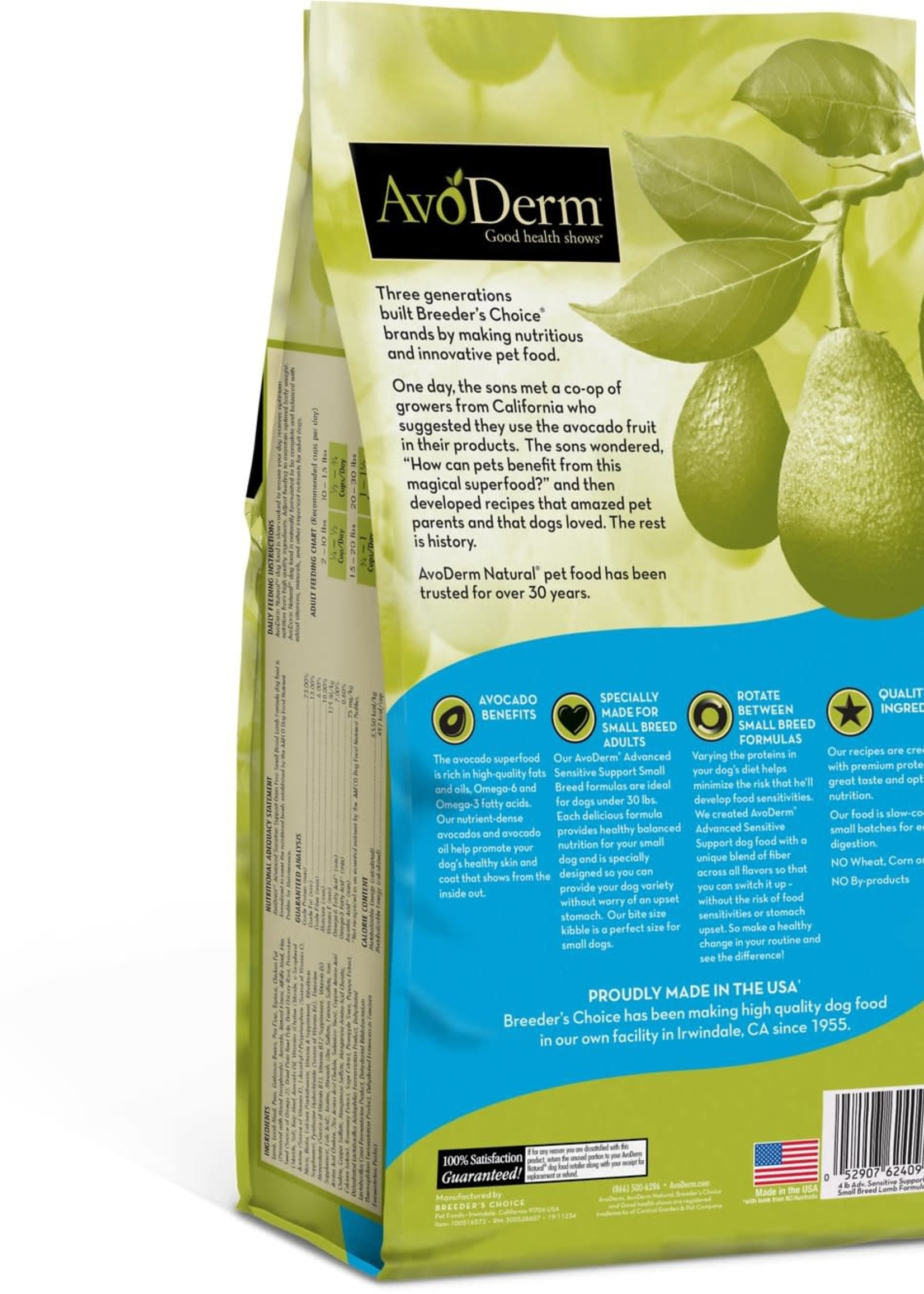 AvoDerm by Breeder's Choice AvoDerm Dog Dry Sensitive Support Lamb Small Breed