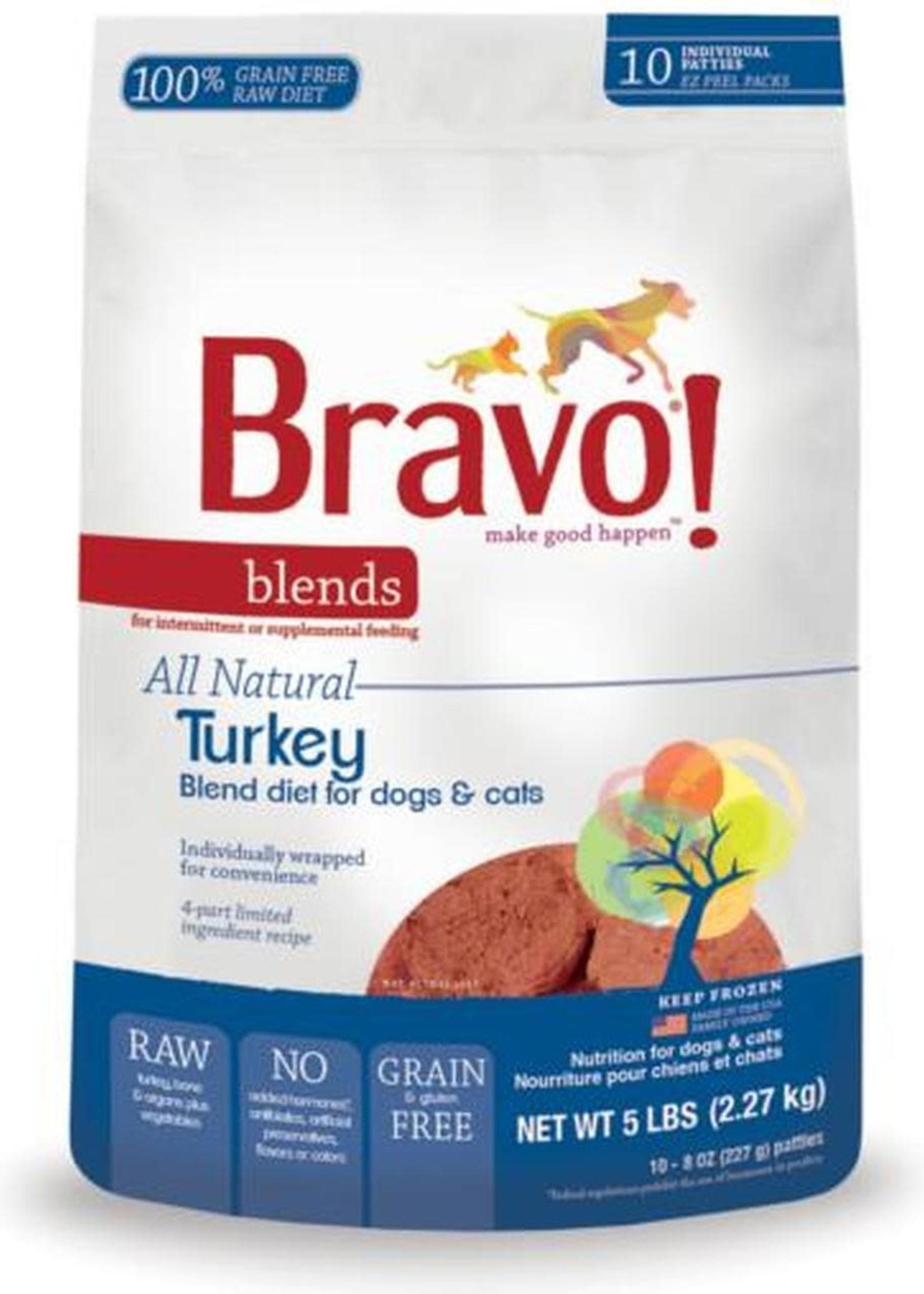 Bravo! Bravo! Dog Food Blends Frozen Turkey Burgers 5 lbs