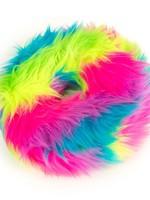 GO DOG Large Rainbow goDog Furballz Rings Durable Plush Squeaker Dog Toy