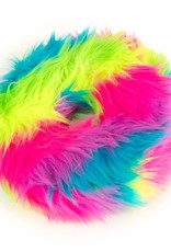 GO DOG Large Rainbow goDog Furballz Rings Durable Plush Squeaker Dog Toy