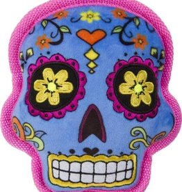 GO DOG GoDog Sugar Skulls with Chew Guard Technology Squeaker Dog Toy Small Blue