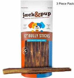 "Jack and Pup Jack and Pup Dog Chew Bully Stick Odor Free 12"" (3 pack)"