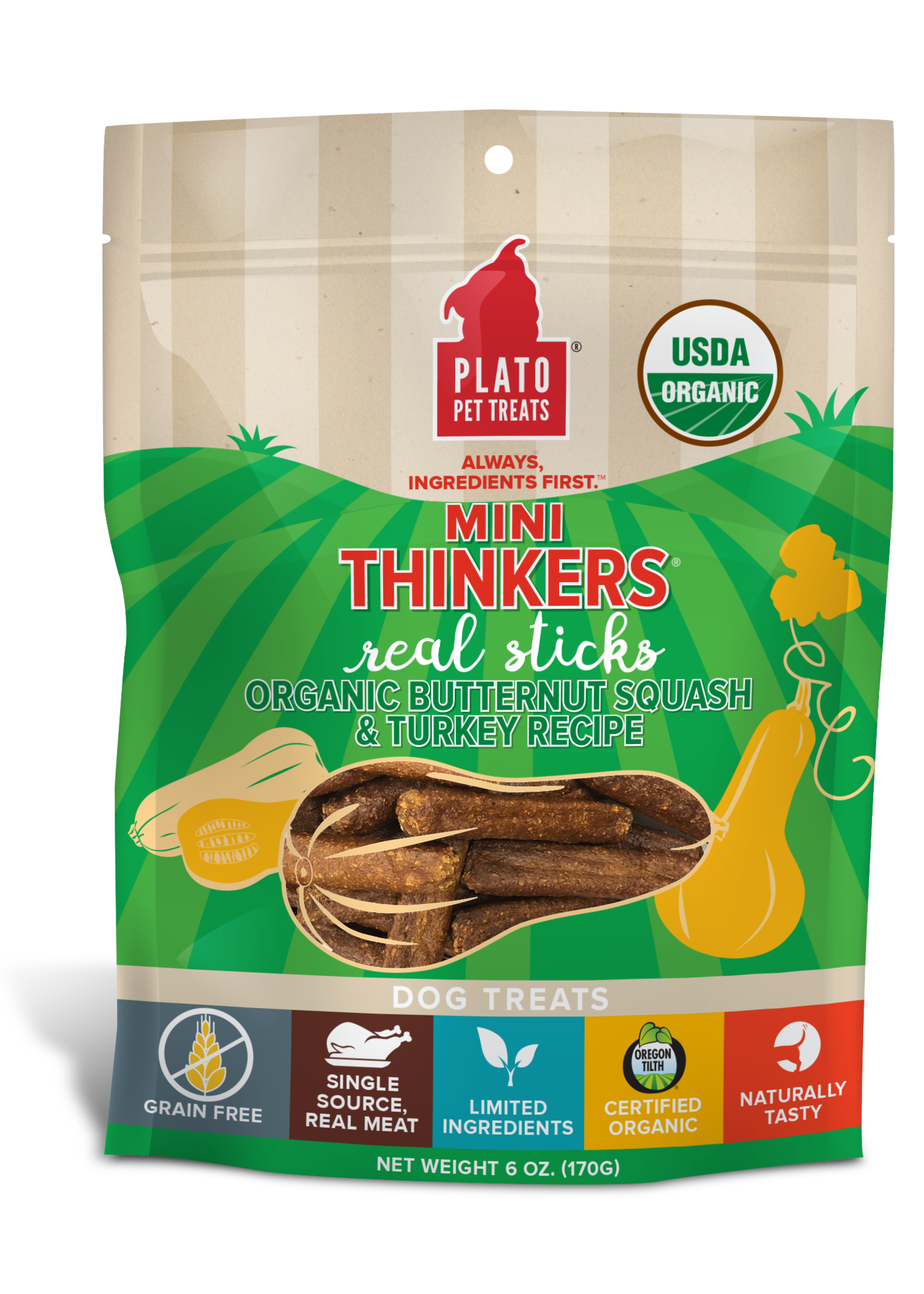 Plato Pet Treats - KDR Plato Mini Thinkers Organic Turkey & Squash 6oz