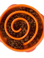Outward Hound Outward Hound Fun Feeder Slo-Bowl Swirl Orange Small