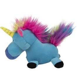 GO DOG Blue goDog Unicorns with Chew Guard Technology Durable Plush Dog Toy Small