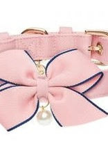 """Blueberry Pet Blueberry Pet The Most Coveted Pink Dog Collar with Golden Metal Buckle and Detachable Bowtie & Pearl Large 17-20.5"""""""