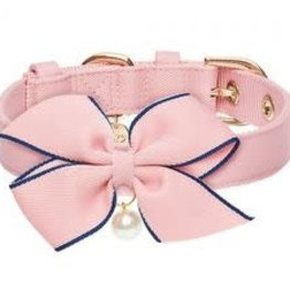 Blueberry Pet Blueberry Pet The Most Coveted Pink Dog Collar with Golden Metal Buckle and Detachable Bowtie & Pearl Med 13-16.5""