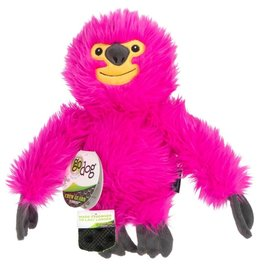 GO DOG goDog Fuzzy Sloth Durable Plush Dog Toy Pink Large