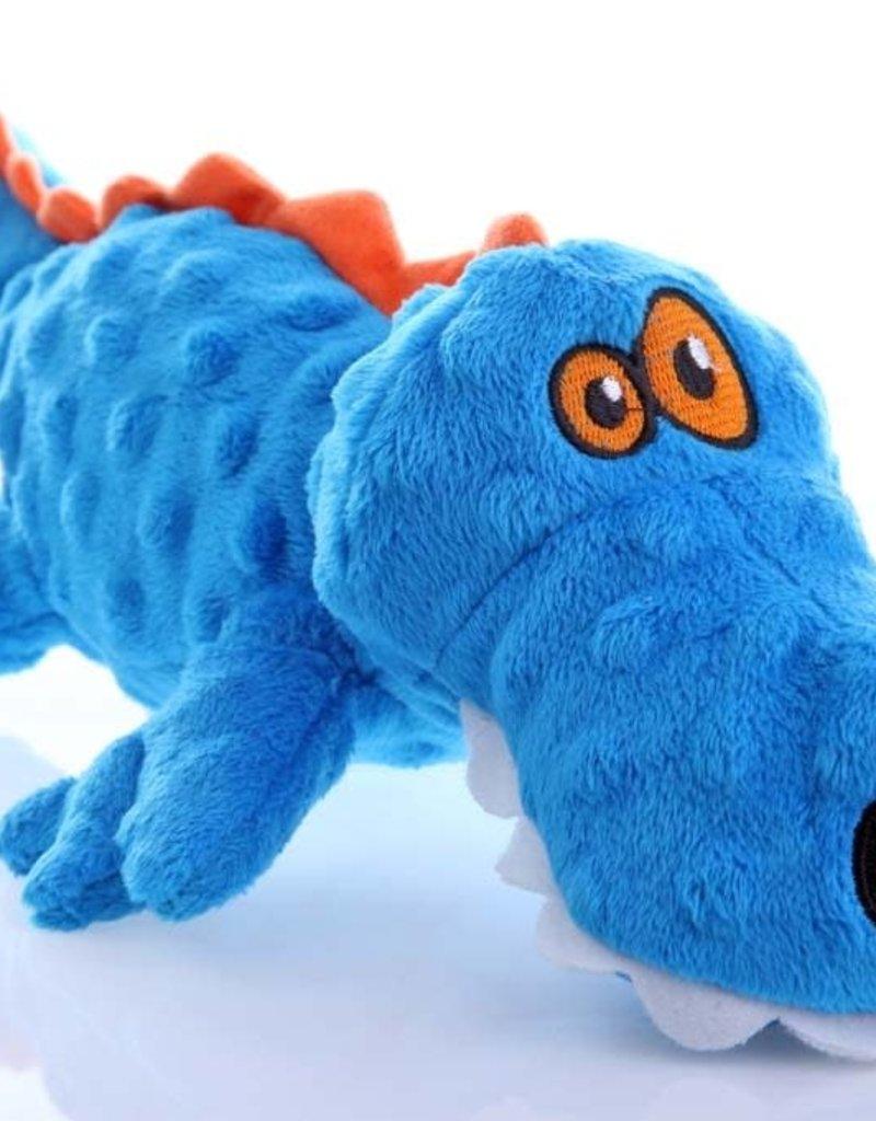GO DOG goDog Gators with Chew Guard Technology Tough Plush Dog Toy Blue Large
