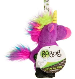 GO DOG Purple goDog Unicorns Durable Plush with Squeaker Dog Toy Small