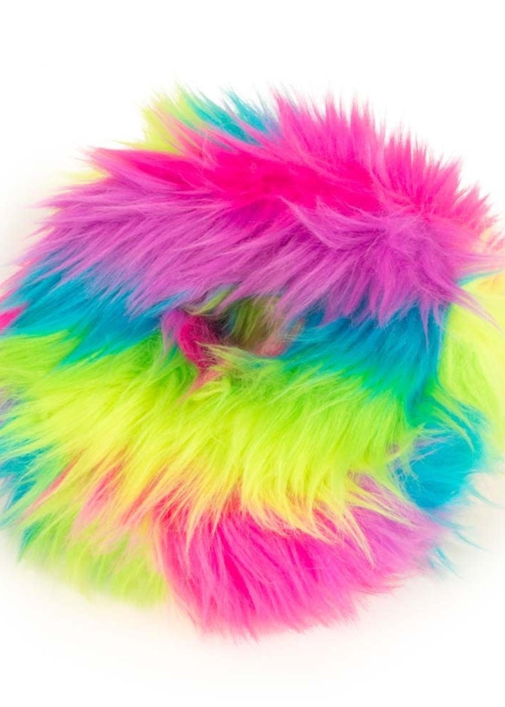 GO DOG Rainbow Medium goDog Furballz Rings Durable Plush Squeaker Dog Toy