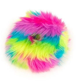 GO DOG Rainbow Medium goDog Furballz Rings Durable Plush Squeaker Dog Toy