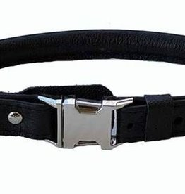 "Euro-Dog Euro-Dog Quick Release 5/8in Rolled Collar 14-15"" Black Small"