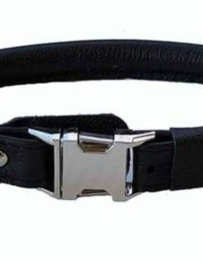 """Euro-Dog Euro-Dog Quick Release 5/8in Rolled Collar 14-15"""" Black Small"""