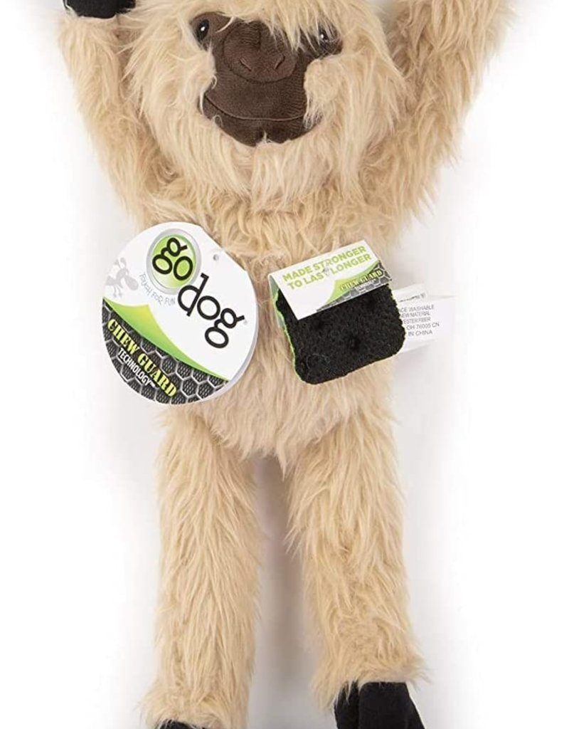 GO DOG GoDog Crazy Tugs Sloths w/Chew Guard Tech Plush Squeaker Dog Toy, Small, Tan