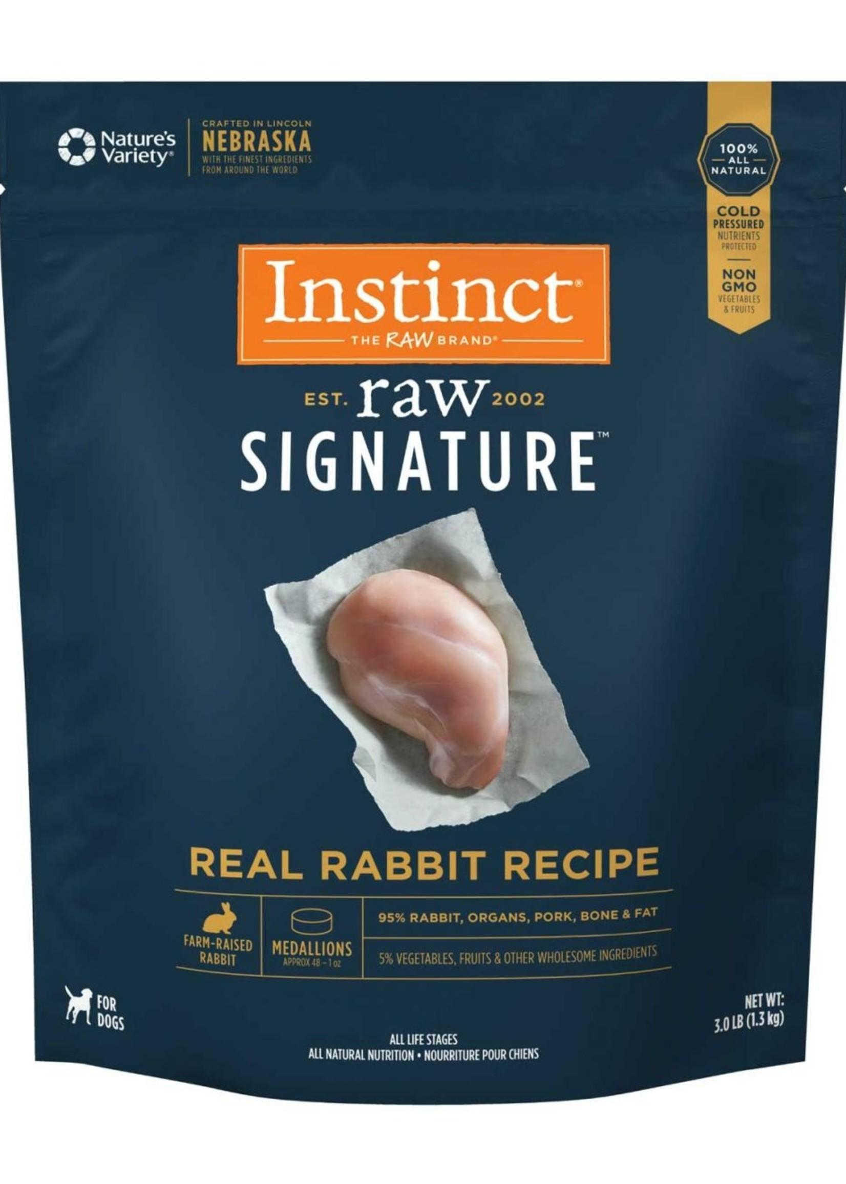 Nature's Variety Instinct Dog Frozen Raw Rabbit Medallion 3 lbs