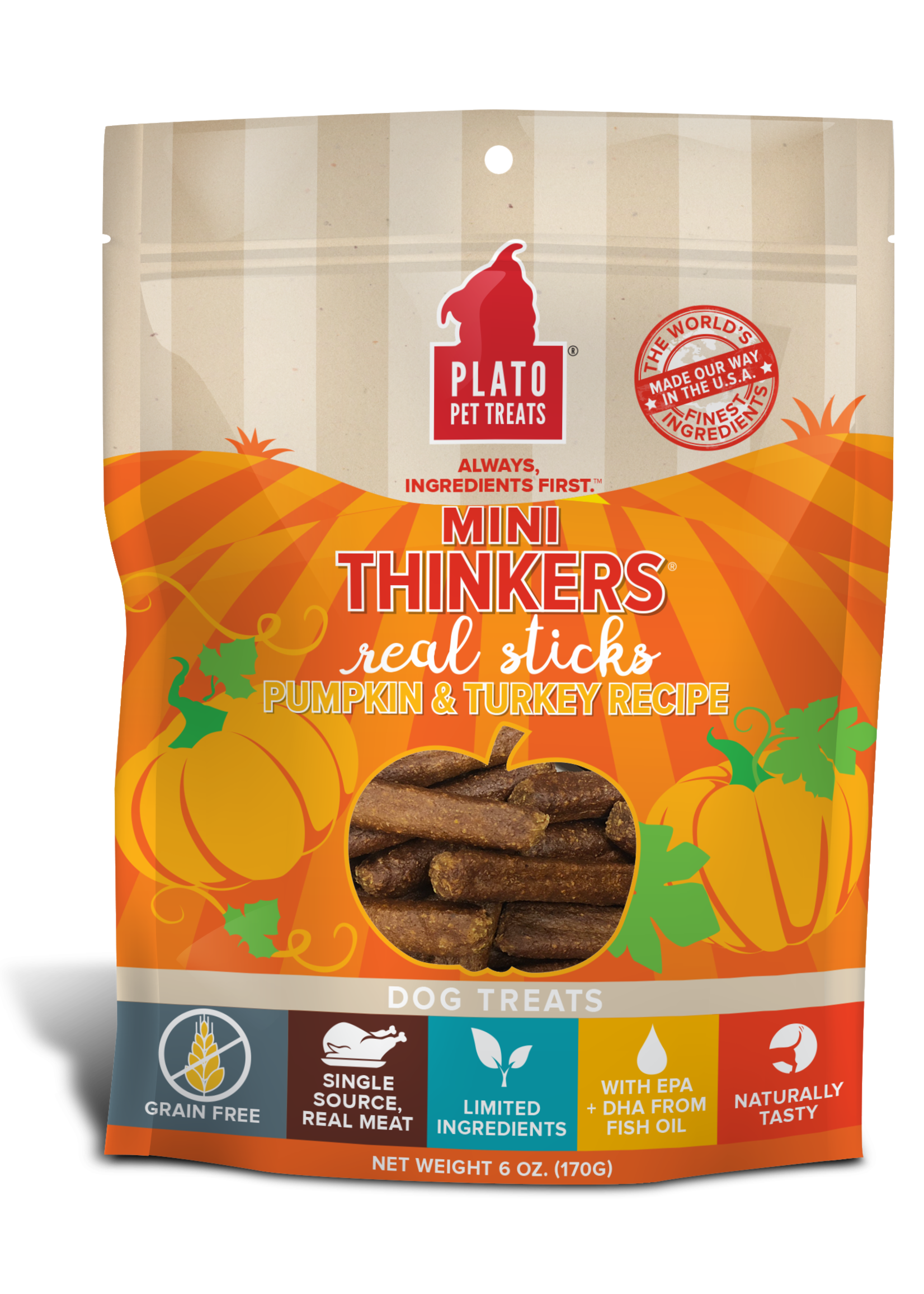 Plato Pet Treats - KDR Plato Mini Thinkers Turkey & Pumpkin 3oz