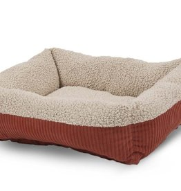 JW Pet/Doskocil Manufacturing Aspen Pet Lounger Self Warming Rectangular Dog Bed Red Barn/Cream Small