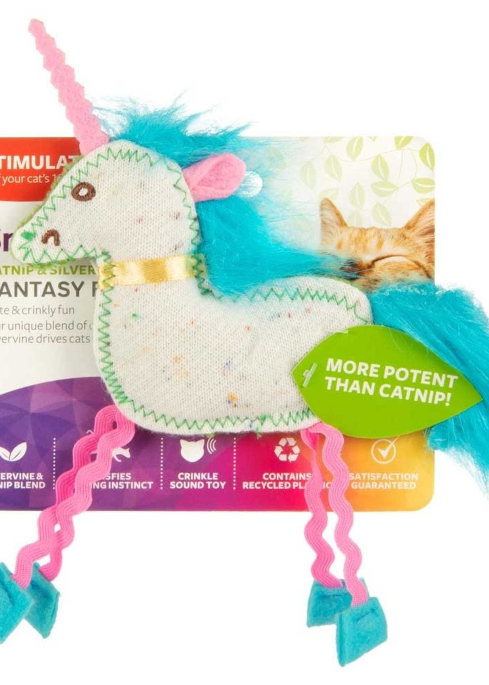 WORLDWISE INC / PET LINKS SmartyKat Fantasy Frenzy Crinkle Unicorn Catnip and Silvervine Cat Toy