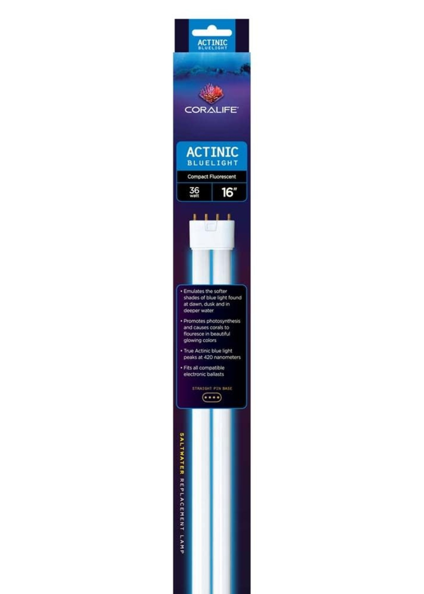 Central Aquatics/Aqueon Coralife Actinic Bluelight Compact Fluorescent Straight Pin Base Lamp 36W 16in