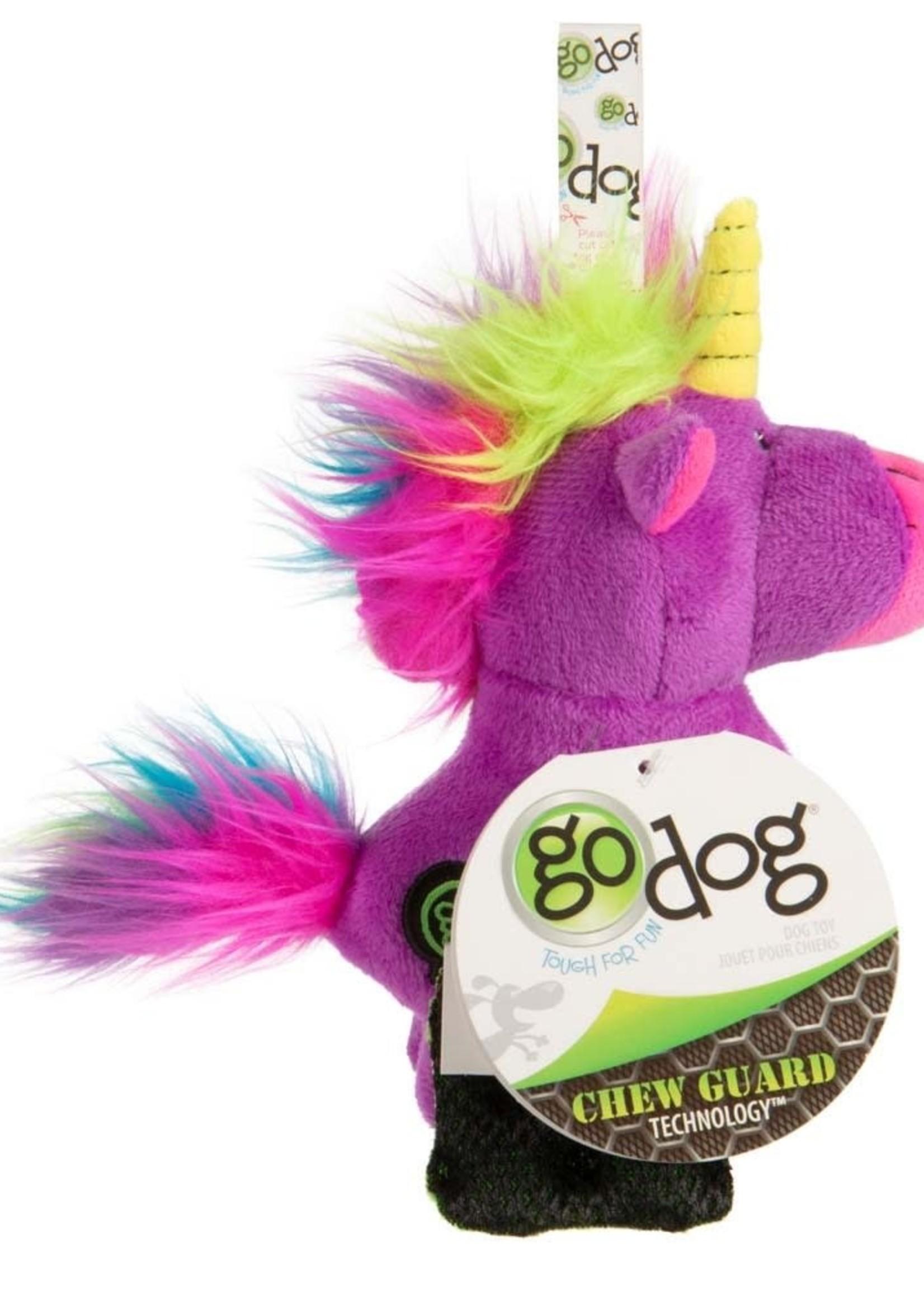GO DOG goDog Unicorns Durable Plush with Squeaker Dog Toy Purple Large