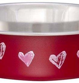 LOVING PETS CORP Loving Pets Bella Dish Designer Dog Dish Hearts Valentine Red Medium