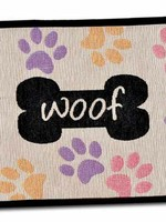 LOVING PETS CORP Loving Pets Fashion Mat Woof with Multi Paws Multi-Color