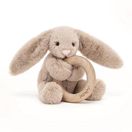 Jellycat Jellycat - Bashful beige bunny wooden ring toy