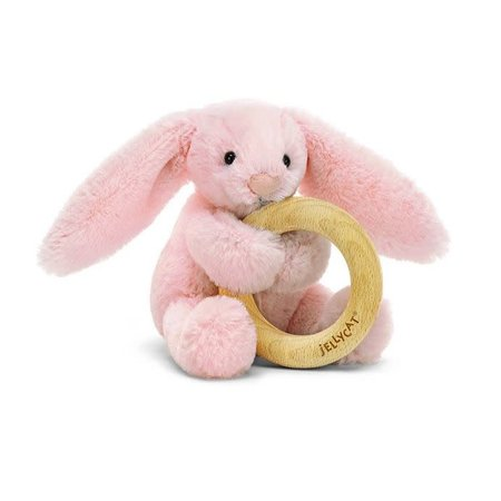 Jellycat Jellycat - Bashful pink bunny wooden ring toy