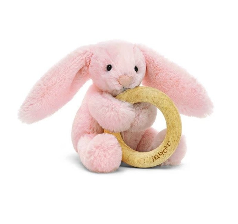 Jellycat Jellycat - Bashfuf pink bunny wooden ring toy