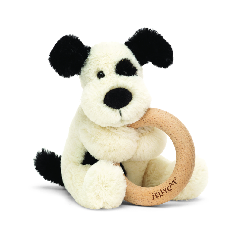 Jellycat Jellycat - Bashful Black & Cream Puppy Wooden Ring Toy
