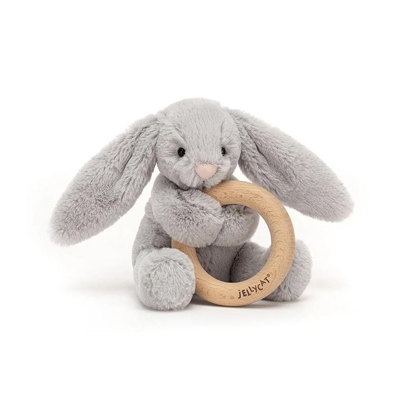 Jellycat Jellycat - Bashful Gray Bunny Wooden Ring Toy