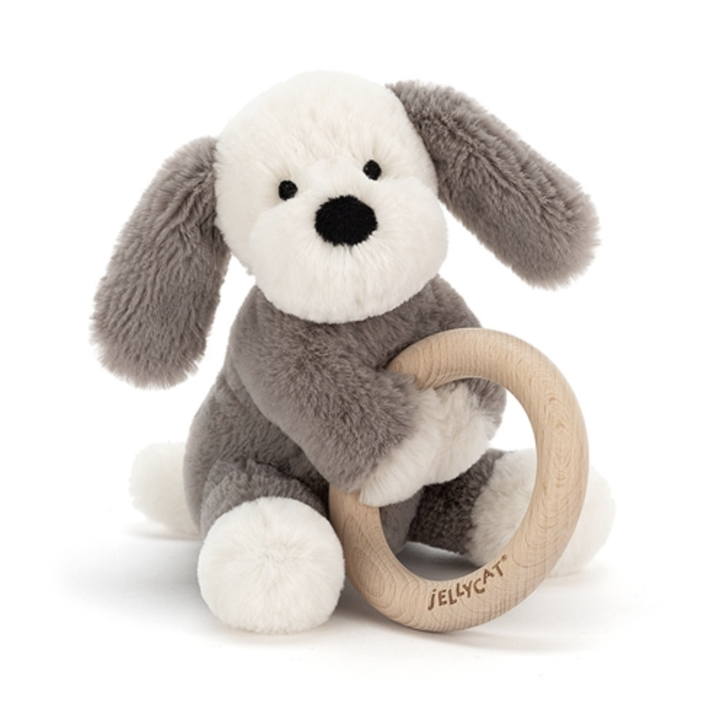 Jellycat Jellycat - Smudge Puppy Wooden Ring Toy