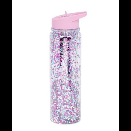 A Little Lovely Company Lovely -  Drink Bottle 500ML - Glitter Pink Silver