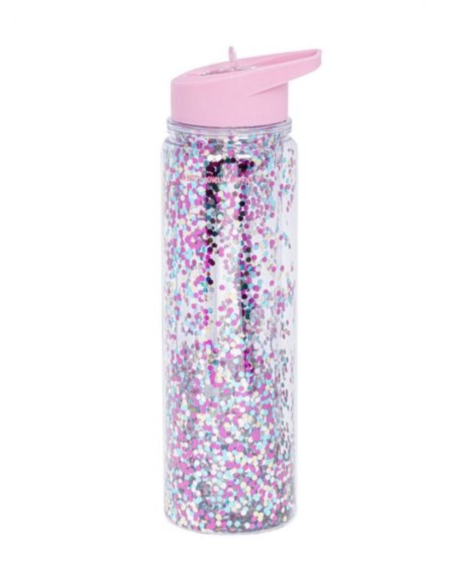 A Little Lovely Company Lovely -  Drink Bottle 500ML - Glitter Pink Silver