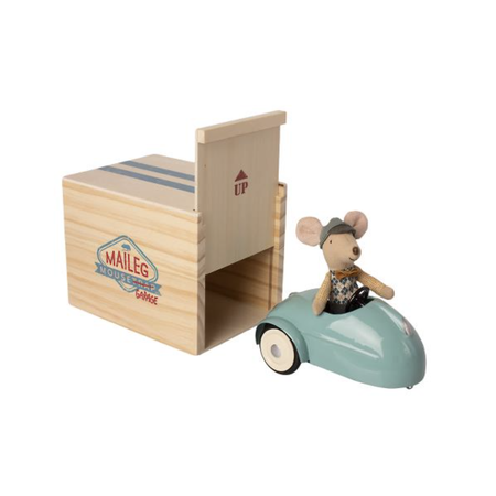 Maileg - Mouse car w. garage - Blue
