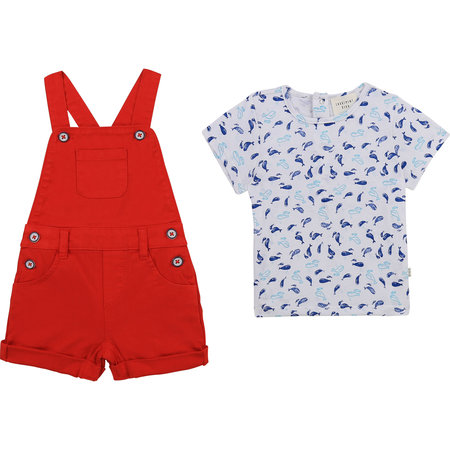 Carrement Beau Carrement Beau - Whale overall + tshirt set