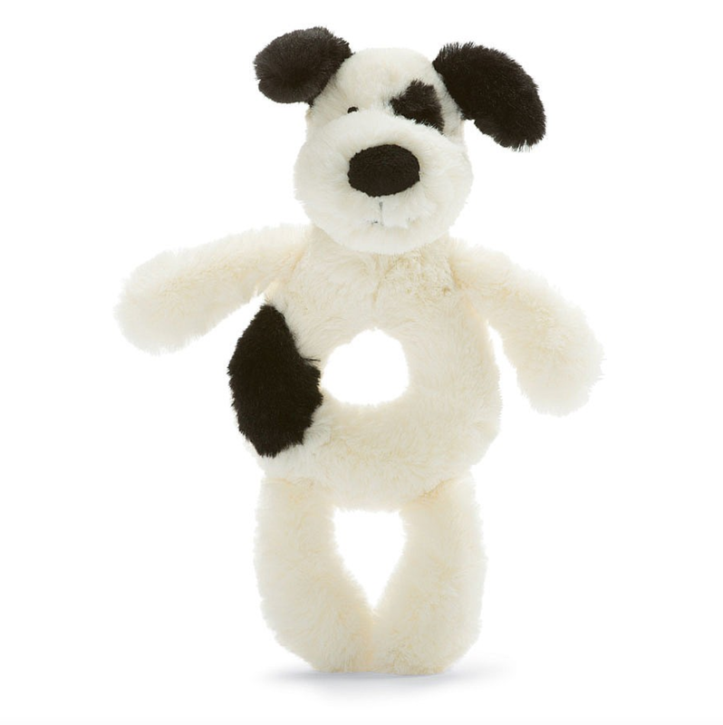 Jellycat Jellycat -  Bashful puppy black and cream ring rattle