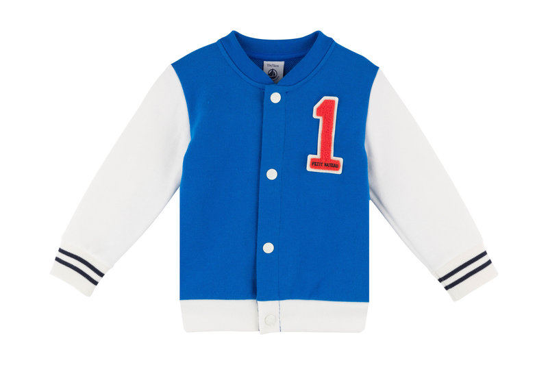 Petit bateau Petit Bateau - Fleece Dual-Tone Baseball Jacket